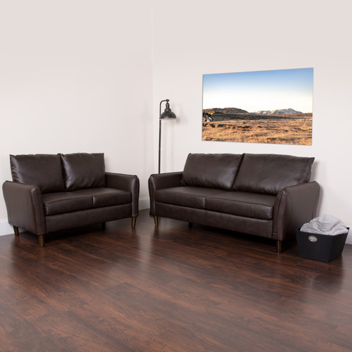 Flash Furniture | Milton Park Upholstered Plush Pillow Back Loveseat and Sofa Set in Brown LeatherSoft