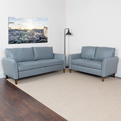 Flash Furniture | Milton Park Upholstered Plush Pillow Back Loveseat and Sofa Set in Gray LeatherSoft