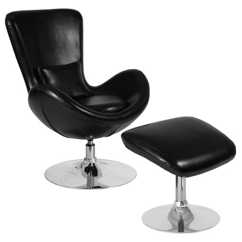 Flash Furniture | Egg Series Black LeatherSoft Side Reception Chair with Ottoman