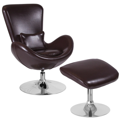 Flash Furniture | Egg Series Brown LeatherSoft Side Reception Chair with Ottoman