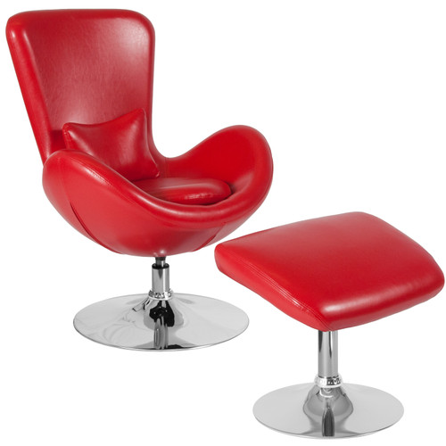 Flash Furniture | Egg Series Red LeatherSoft Side Reception Chair with Ottoman