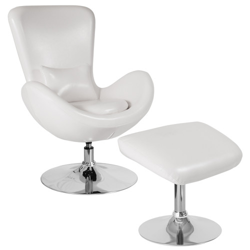 Flash Furniture | Egg Series White LeatherSoft Side Reception Chair with Ottoman