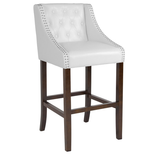 "Flash Furniture | Carmel Series 30"" High Transitional Tufted Walnut Barstool with Accent Nail Trim in White LeatherSoft"