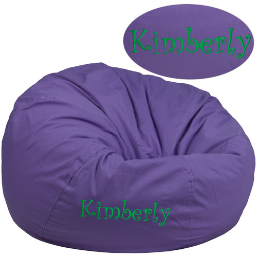 Flash Furniture | Personalized Oversized Solid Purple Bean Bag Chair for Kids and Adults