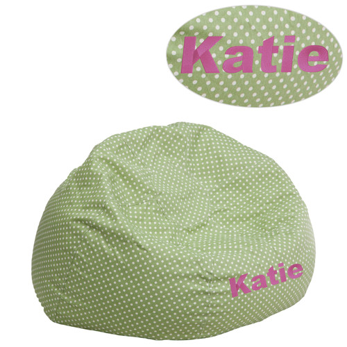 Flash Furniture | Personalized Small Green Dot Bean Bag Chair for Kids and Teens