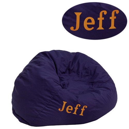 Flash Furniture | Personalized Small Solid Navy Blue Bean Bag Chair for Kids and Teens