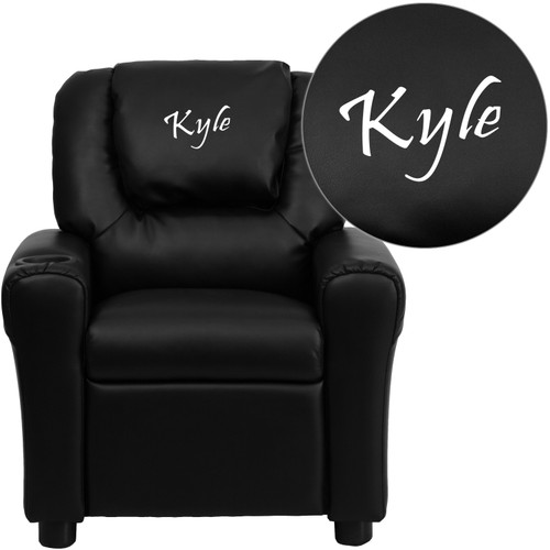 Flash Furniture | Personalized Black LeatherSoft Kids Recliner with Cup Holder and Headrest
