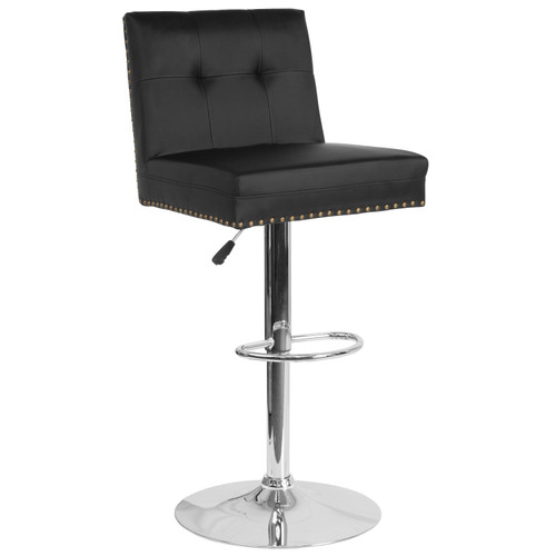 Flash Furniture | Ravello Contemporary Adjustable Height Barstool with Accent Nail Trim in Black LeatherSoft