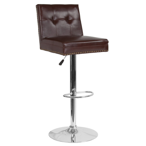 Flash Furniture | Ravello Contemporary Adjustable Height Barstool with Accent Nail Trim in Brown LeatherSoft