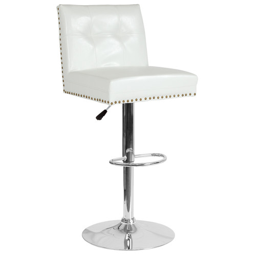 Flash Furniture | Ravello Contemporary Adjustable Height Barstool with Accent Nail Trim in White LeatherSoft