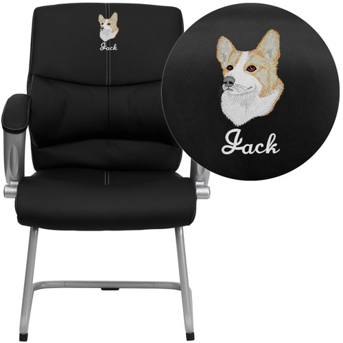 Flash Furniture | Embroidered Black LeatherSoft Executive Side Reception Chair with Silver Sled Base