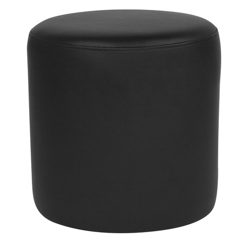 Flash Furniture | Barrington Upholstered Round Ottoman Pouf in Black LeatherSoft