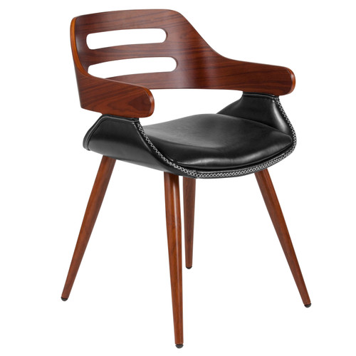 Flash Furniture | Contemporary Walnut Bentwood Side Reception Chair with Cross Stitched Black LeatherSoft Seat
