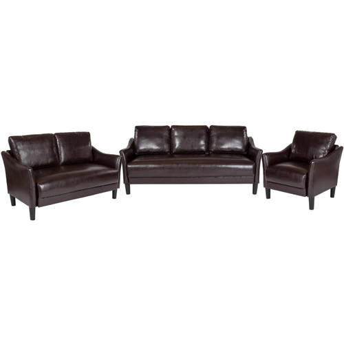Flash Furniture | Asti 3 Piece Upholstered Set in Brown LeatherSoft