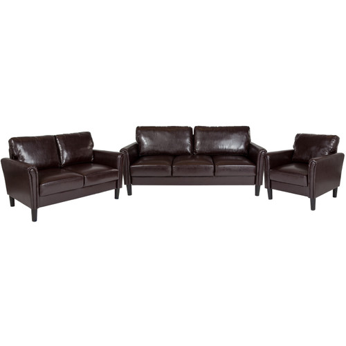 Flash Furniture | Bari 3 Piece Upholstered Set in Brown LeatherSoft