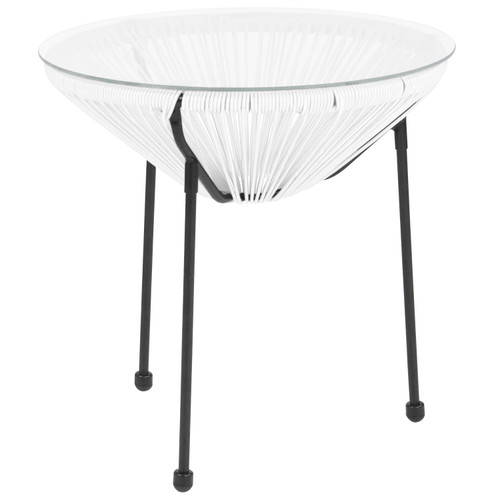 Flash Furniture | Valencia Oval Comfort Series Take Ten White Rattan Table with Glass Top