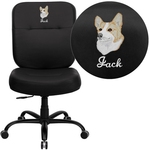 Flash Furniture | Embroidered HERCULES Series Big & Tall 400 lb. Rated Black LeatherSoft Rectangle Back Ergonomic Office Chair