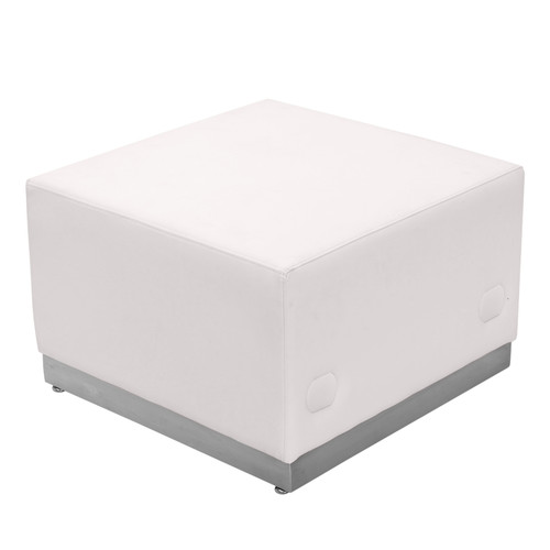 Flash Furniture | HERCULES Alon Series Melrose White LeatherSoft Ottoman with Brushed Stainless Steel Base