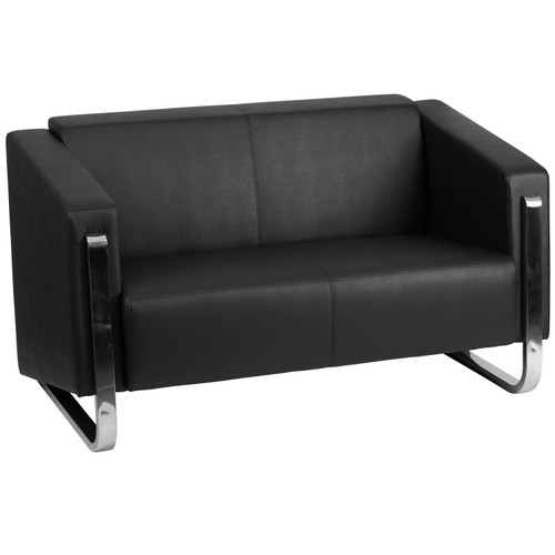 Flash Furniture | HERCULES Gallant Series Contemporary Black LeatherSoft Loveseat with Stainless Steel Frame