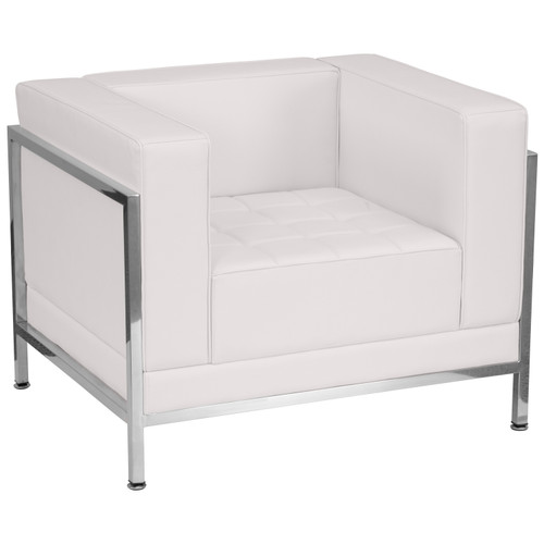 Flash Furniture | HERCULES Imagination Series Contemporary Melrose White LeatherSoft Chair with Encasing Frame