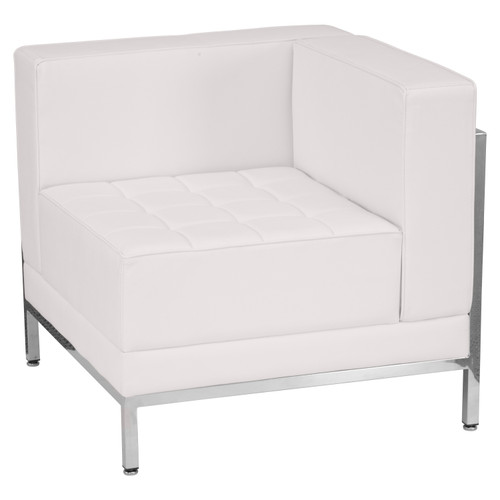 Flash Furniture | HERCULES Imagination Series Contemporary Melrose White LeatherSoft Right Corner Chair with Encasing Frame