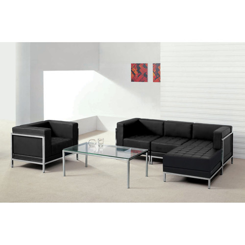 Flash Furniture | HERCULES Imagination Series Black LeatherSoft Sectional & Chair, 5 Pieces