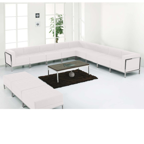 Flash Furniture | HERCULES Imagination Series Melrose White LeatherSoft Sectional & Ottoman Set, 12 Pieces