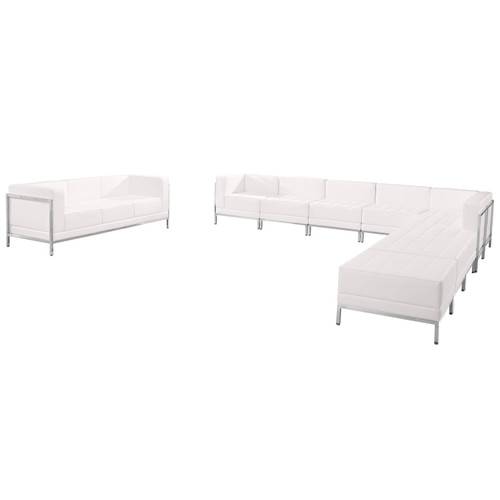 Flash Furniture | HERCULES Imagination Series Melrose White LeatherSoft Sectional & Sofa Set, 10 Pieces