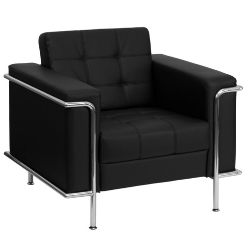 Flash Furniture | HERCULES Lesley Series Contemporary Black LeatherSoft Chair with Encasing Frame