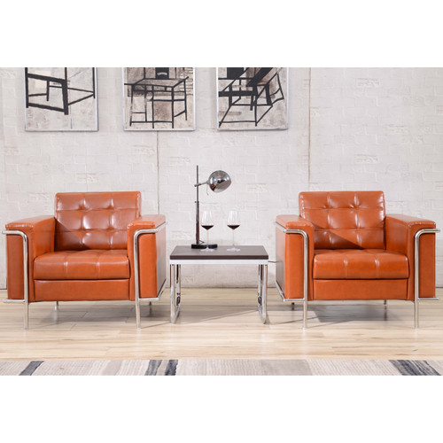 Flash Furniture | HERCULES Lesley Series Contemporary Cognac LeatherSoft Chair with Encasing Frame
