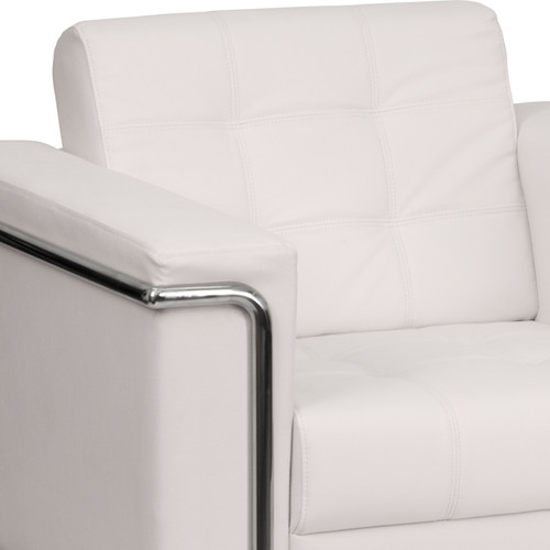 Flash Furniture | HERCULES Lesley Series Contemporary Melrose White LeatherSoft Chair with Encasing Frame