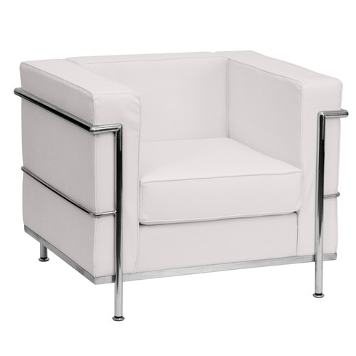 Flash Furniture | HERCULES Regal Series Contemporary Melrose White LeatherSoft Chair with Encasing Frame