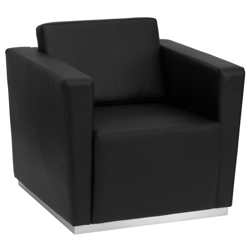 Flash Furniture | HERCULES Trinity Series Contemporary Black LeatherSoft Chair with Stainless Steel Base