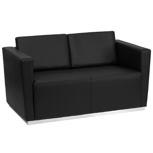 Flash Furniture | HERCULES Trinity Series Contemporary Black LeatherSoft Loveseat with Stainless Steel Base