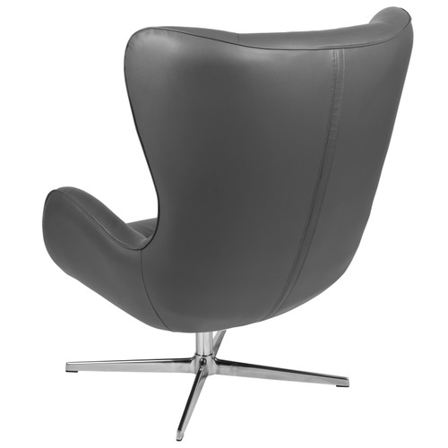 Flash Furniture | Gray LeatherSoft Swivel Wing Chair