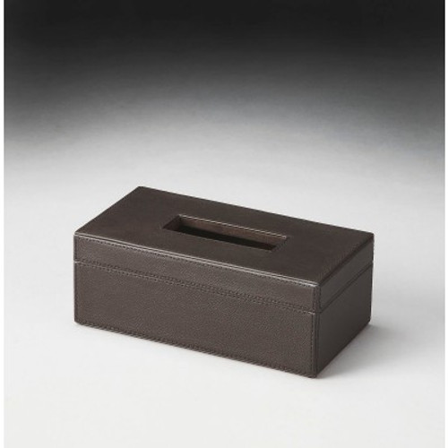 Butler Specialty Furniture | Lido Brown Leather Tissue Box