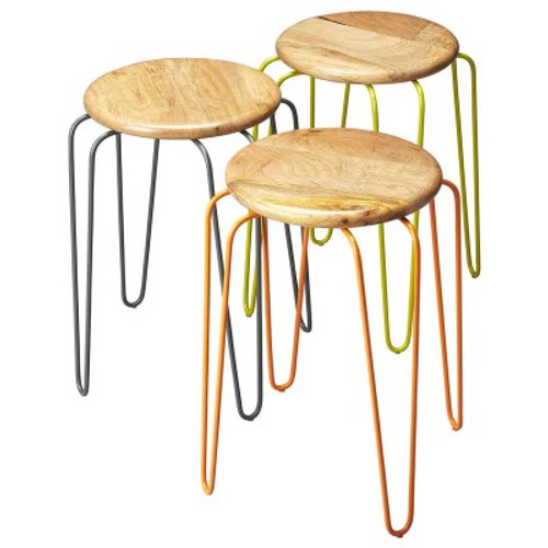 Butler Specialty Furniture | Easton Wood & Iron Stackable Stools | Bs4270330