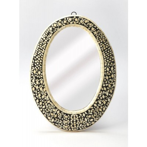 Butler Specialty Furniture | Orzo Black Bone Inlay Oval Wall Mirror | Bs6149318