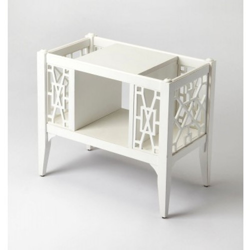 Butler Specialty Furniture   Chippendale Cottage White Magazine Basket   Bs5002222