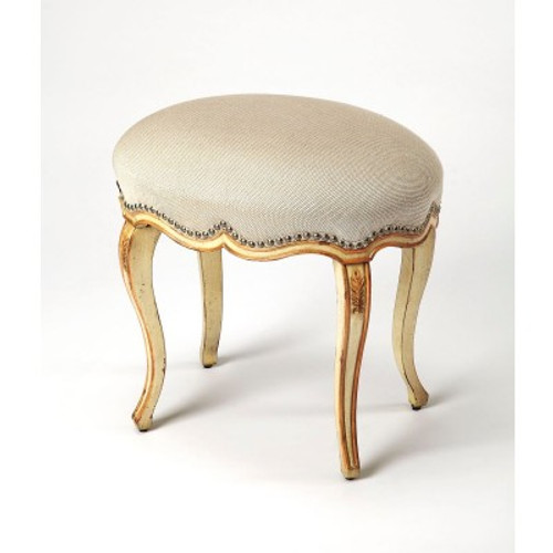 Butler Specialty Furniture | Michelline Cream & Gold Painted Vanity Stool | Bs3629221