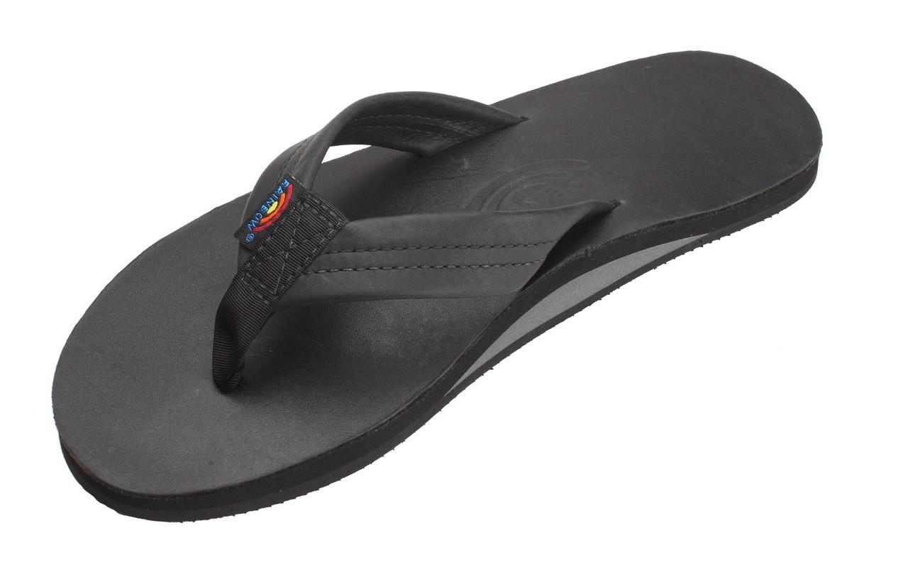 56c91f5a6c9a Rainbow Sandals Men Classic Black Leather Single Layer - Pee Dee ...