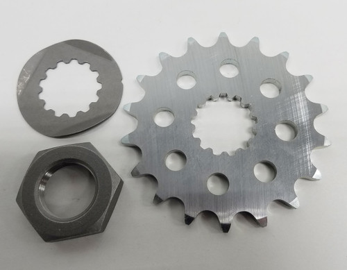 Our 415 countershaft sprocket is designed with the Professional in mind. No more stripped out countershafts our nuts that come loose. Just replace the stock nut, washer and sprocket with our special presision countershaft sprocket, special nut, reusable bend over locking tab washer and it makes gearing changes a breeze.