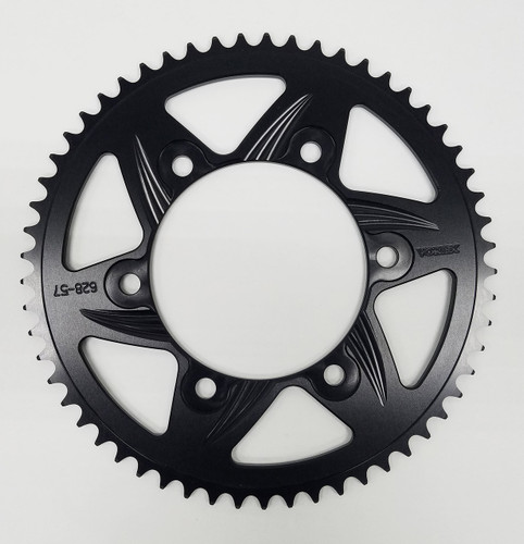 This custom 415 rear sprocket is made from Graves by Vortex. This sprocket is Preston machined and hard anodized for long life. It also has the mounting area machined down to accept the short reciever studs and thin 10mm lock nuts just like on all of our race bikes. The advantages from these modifications are reduced rotating weight and improved clearance when changing the wheels.
