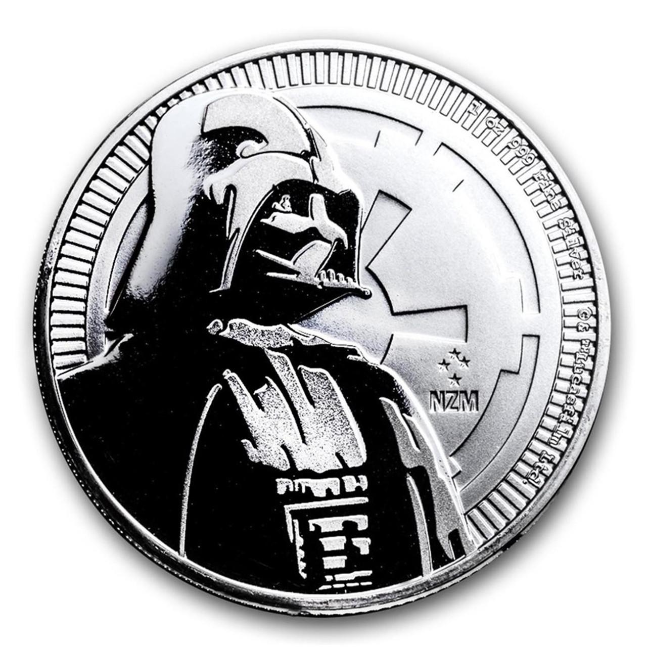 2018 $2 Niue Silver Darth Vader Star Wars .999 1 oz Brilliant Uncirculated