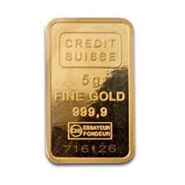 5 gram (999.9 pure) Gold Bar