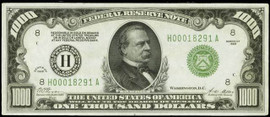 U.S. $1000.00 Bill collector note