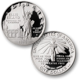 1986 Statue of Liberty Silver Dollar