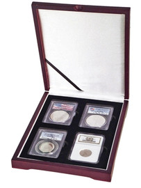Four Coin Wood Display Box NGC or PCGS graded coins in coin collector supplies