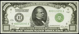1934 $1000 Note Certified PMG-VF
