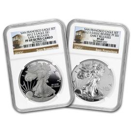 2012-S 75th Anniversary 2-Coin Silver Set PF69
